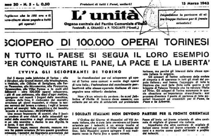 L'Unità sullo sciopero di Torino.