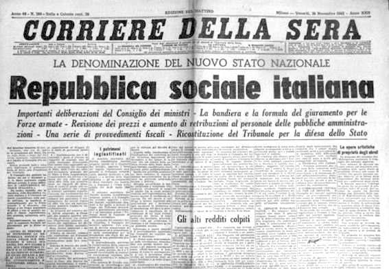 Mussolini crea la Repubblica sociale italiana.