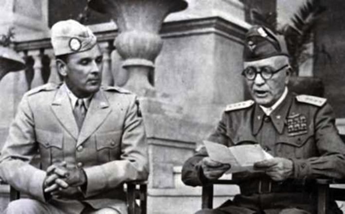 Pietro Badoglio legge la dichiarazione di guerra alla Germania.