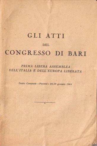 Copertina degli Atti del congresso di Bari.