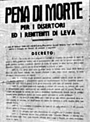Bando della RSI con la condanna a morte per i renitenti alla leva.