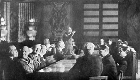 La prima riunione del II governo Badoglio a Salerno.