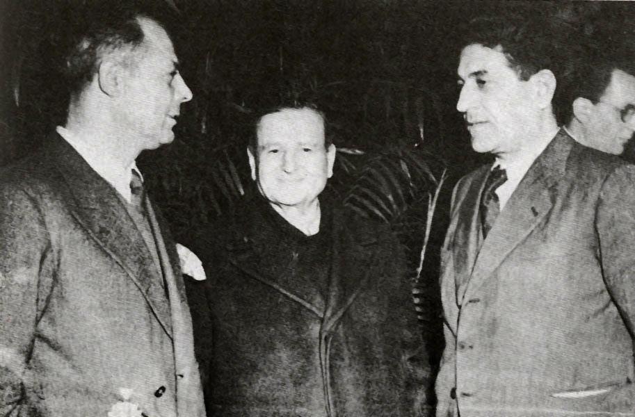 Achille Grandi tra Giuseppe Di Vittorio e Oreste Lizzadri.