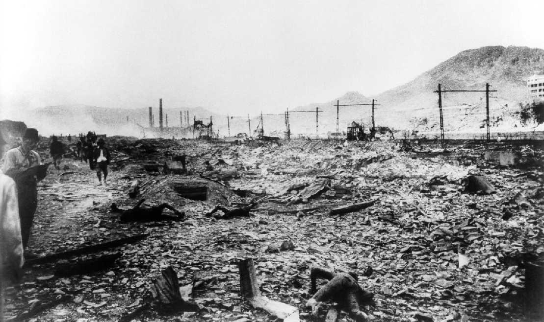 Nagasaki dopo il bombardamento.