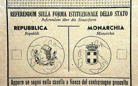 Scheda per il referendum Repubblica/Monarchia.