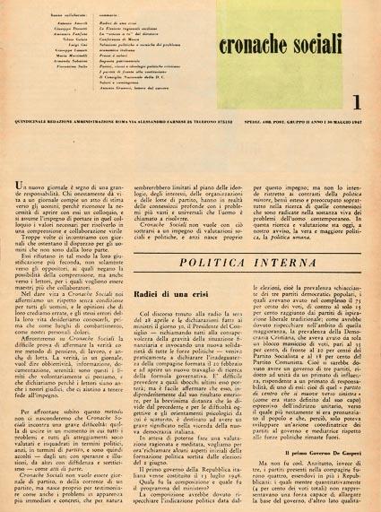 Il primo numero di Cronache sociali.
