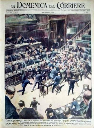 La tumultuosa seduta parlamentare sulla copertina della Domenica del Corriere.