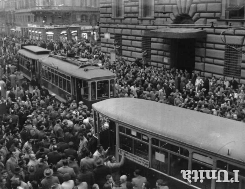 Manifestazione di protesta a Roma il 18 gennaio 1951 contro la visita di Eisenhower.