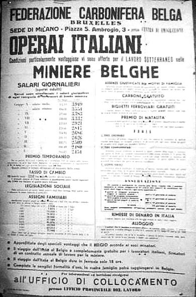 Con la nascita della CECA s'incentiva fortemente l'emigrazione dall'Italia verso le miniere del Belgio.