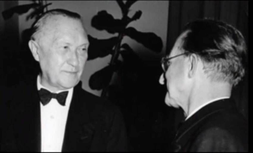 Konrad Adenauer con Alcide De Gasperi durante la visita a Roma del 1951.