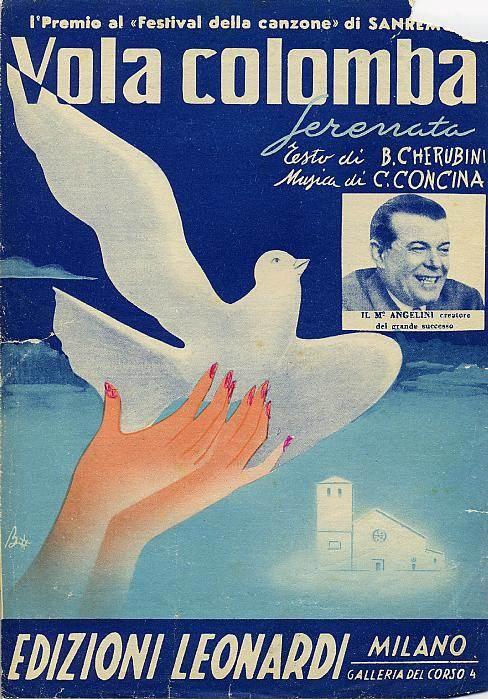 """Il 2° festival di Sanremo si conclude con la vittoria di """"Vola colomba"""" canzona ispirata al ricongiungimento di Trieste all'Italia."""