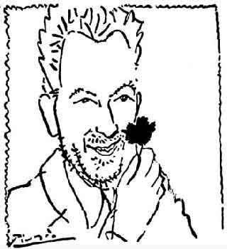 Nikos Beloyannis in un disegno di Pablo Picasso.