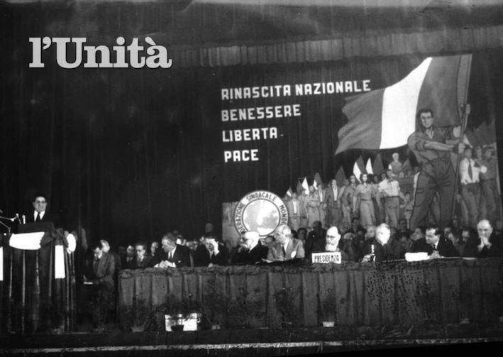 Giuseppe Di Vittorio interviene al III congresso della CGIL.