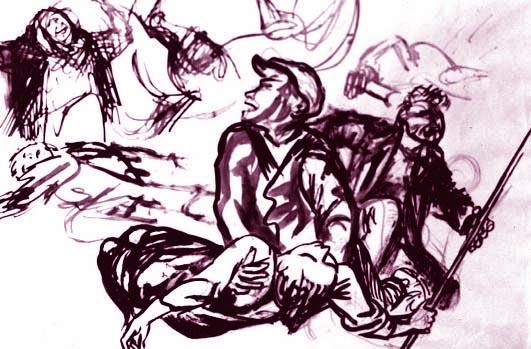 Disegno di Renato Guttuso per i morti di Mussomeli.