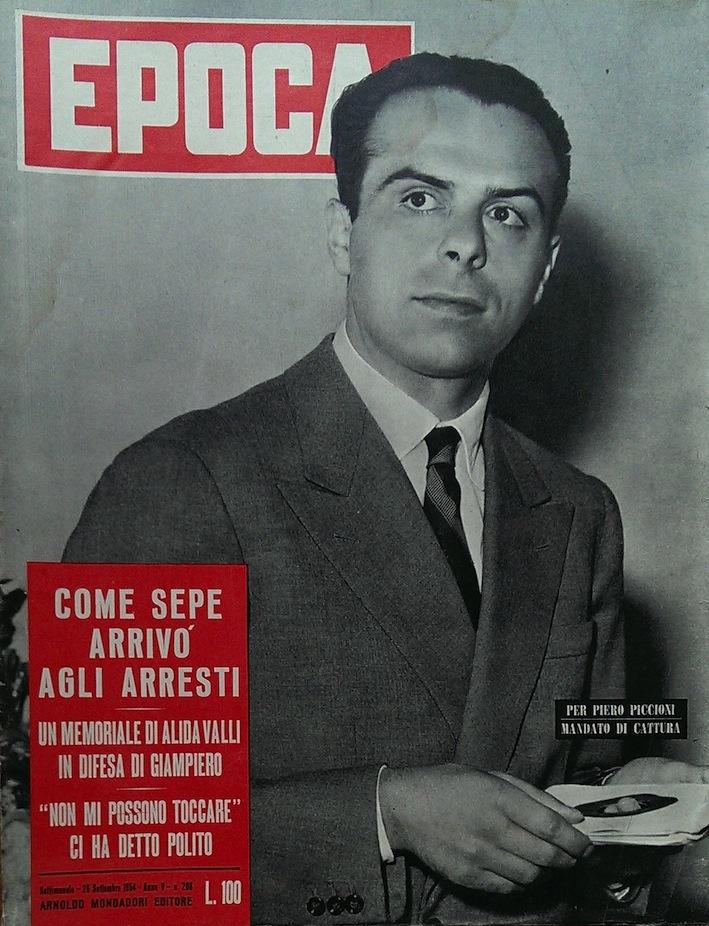 Piero, figlio del ministro Attilio Piccioni, sulla copertina di Epoca.