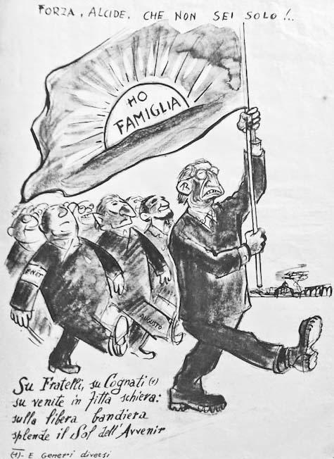 Vignetta di Guareschi su De Gasperi.