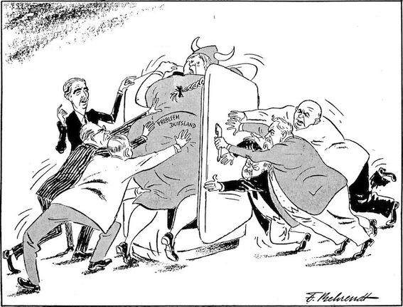 Vignetta satirica sul congelamento della questione tedesca emerso dalla conferenza di Ginevra.