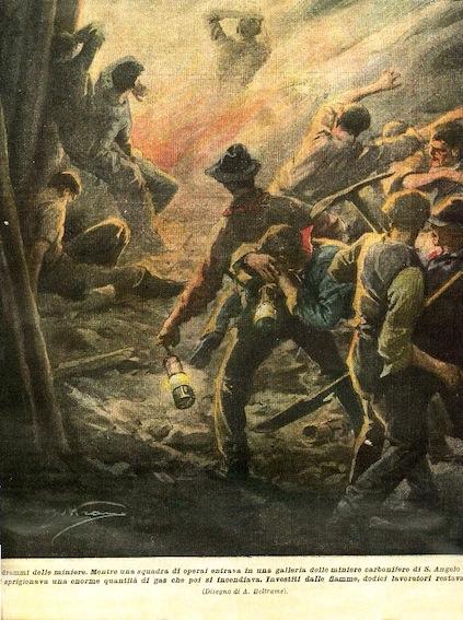 Tragedia di minatori rappresentata da A. Beltrami sulla Domenica del Corriere.