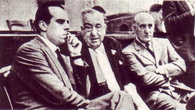 Piccioni, Polito e Montagna durante il processo Montesi.