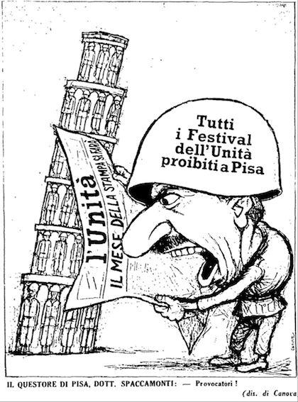 Vignetta apparsa sull'Unità il 7/8/58.