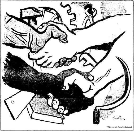Disegno di Renato Guttuso per la festa del 1° maggio.