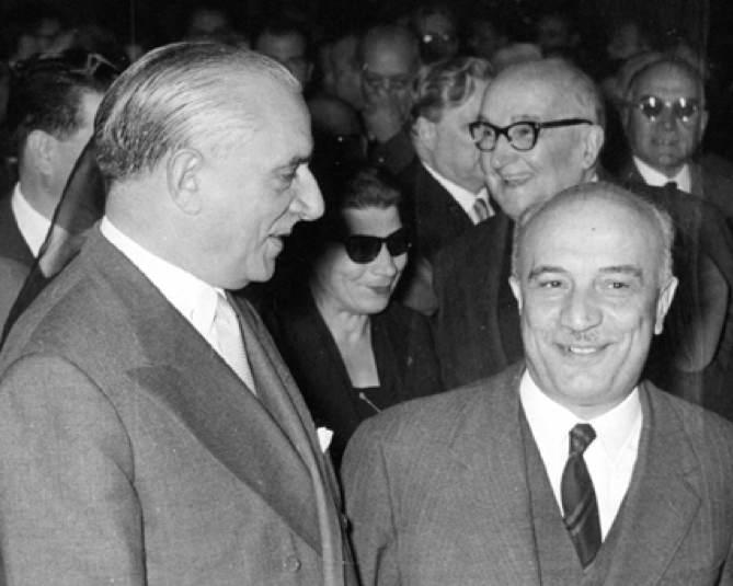 Pietro Campilli (a sinistra) con Amintore Fanfani.