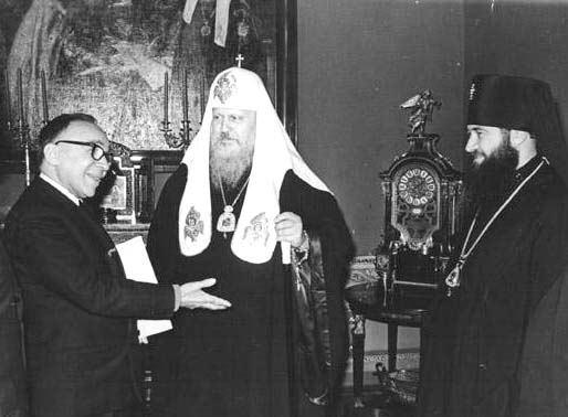 Giorgio La Pira a Mosca incontra il Patriarca Pimen e il Metropolita Juvenalis.
