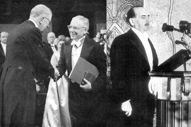 Emilio Segrè (a sinistra) e Salvatore Quasimodo alla consegna del premio Nobel.