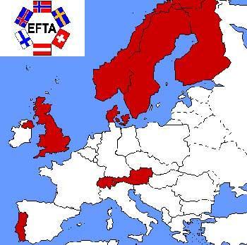 Paesi aderenti all'EFTA.