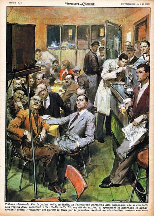 La Domenica del Corriere, con un disegno di Walter Molino, evidenzia l'attenzione popolare riservata alla novità della Tribuna elettorale in TV.