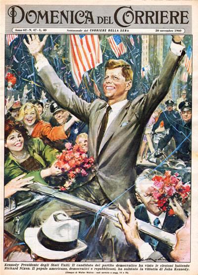 La vittoria di Kennedy nella copertina della Domenica del corriere.