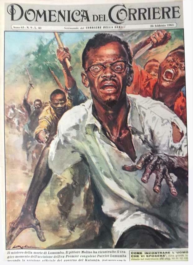 La copertina della Domenica del Corriere illustra la morte di Lumumba seconda la versione del governo del Katanga.