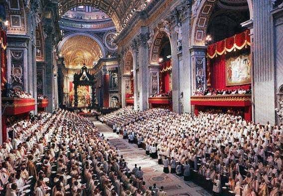 Il Concilio nella basilica di San Pietro.