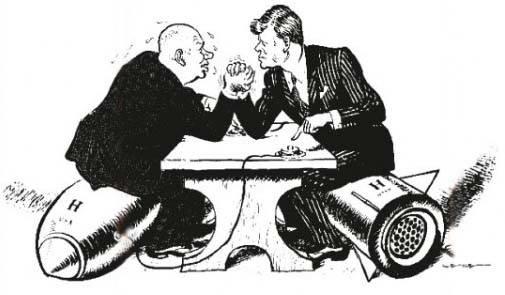Il braccio di ferro tra le due superpotenze in una vignetta.