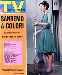 Gigliola Cinquetti, vincitrice del festival di Sanremo 1963, sulla copertina di un rotocalco.