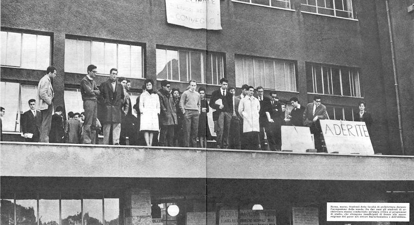La Facoltà di Architettura di Roma occupata nel 1963.