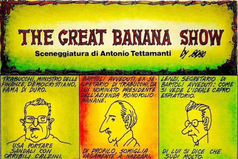 """Lo """"scandalo delle banane"""" nei disegni di Coco e con testi di Antonio Tettamanti apparso su Panorama del 1980."""