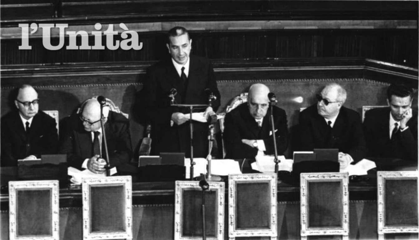Moro presenta il suo governo in Parlamento.