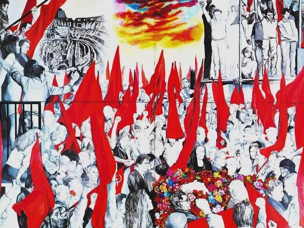 I funerali di Togliatti nel quadro di Renato Guttuso.