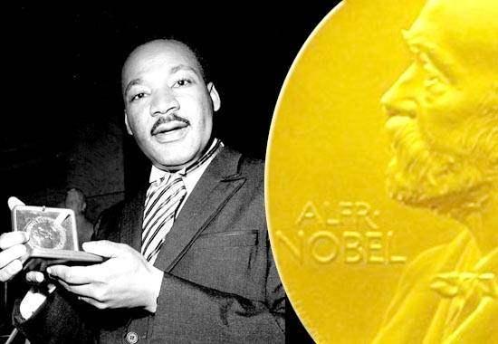 Martin Luther King alla consegna del Nobel per la pace.