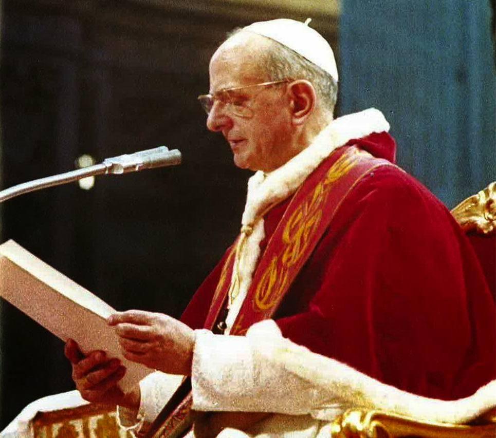 Paolo VI alla chiusura del Concilio Vaticano II.