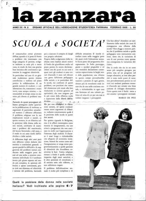 """Prima pagina de """"La zanzara"""" con l'articolo messo sotto accusa."""