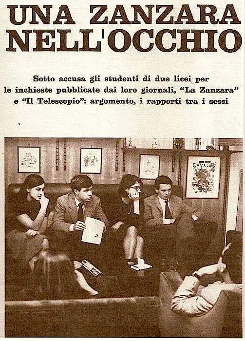 """Il servizio della rivista Noi donne sul caso della """"Zanzara"""", con intervista ai redattori sotto processo."""