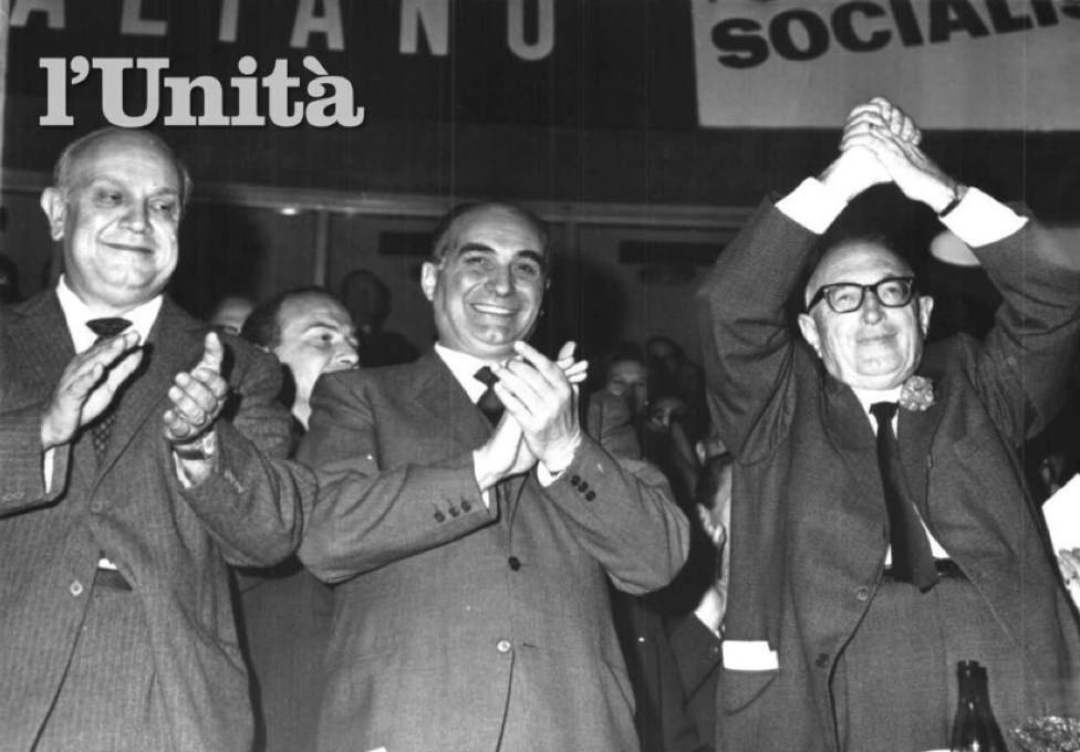 I leader del nuovo PSU: da destra Nenni, Tanassi e De Martino.