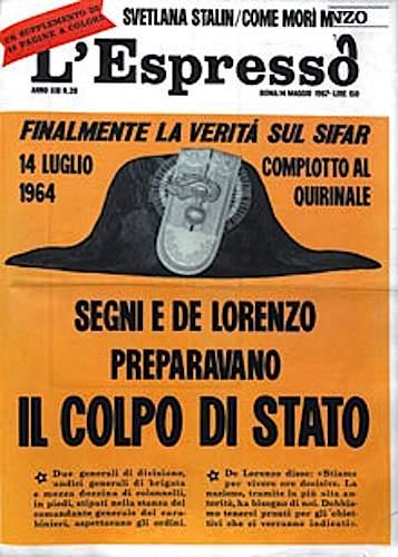 """Il numero de L'Espresso che fa esplodere il """"caso Sifar""""."""