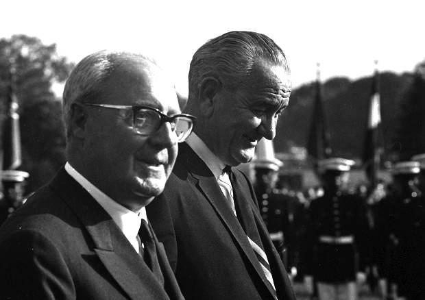 Il Presidente della Repubblica Saragat con il Presidente americano Johnson.