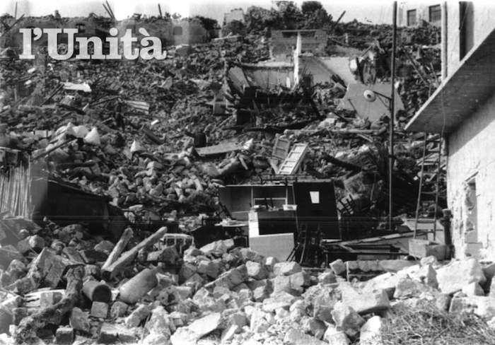 Paese del Belice raso al suolo dal terremoto.