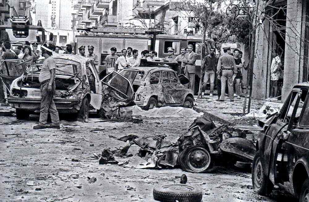 La scena dell'agguato mafioso del 29 luglio 1983 in cui vennero uccisi il giudice palermitano Rocco Chinnici e due uomini della sua scorta.