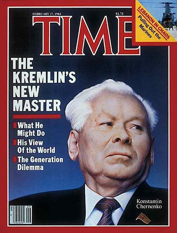 Copertina di Time dedicata a Cernenko, successore di Andropov alla guida dell'Unione sovietica.