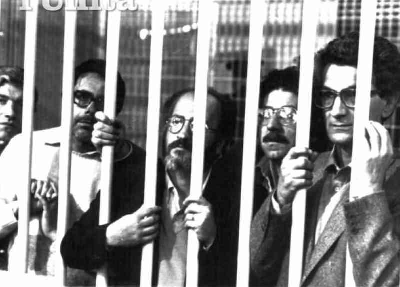 Toni Negri e altri imputati nel processo «7 aprlle» di Roma, da cui il 12 giugno 1984 uscirono con pesanti condanne.